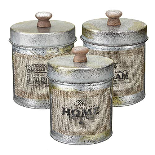 RENCALO Coperchio 3PCS Vintage Shabby Metallo Serbatoio da Cucina Candy Dadi Bottiglie Crafts Jar