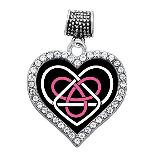 Inspired Silver - Celtic Sisters Knot Memory Charm for Women - Silver Open Heart Charm for Bracelet with Cubic Zirconia Jewelry