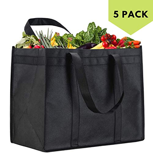 NZ Home XL Reusable Grocery Bags Heavy Duty Shopping Tote Stands Upright Foldable Washable Extra Large Completely Reinforced Bottom amp Straps Black 5 Pack