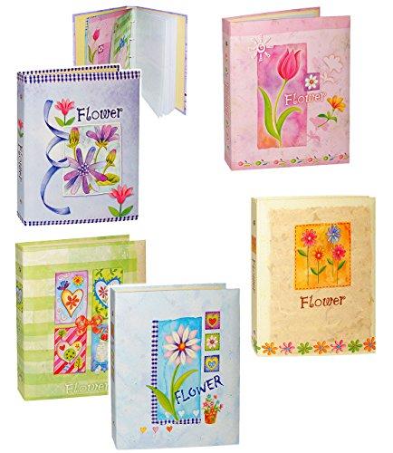 alles-meine.de GmbH 4 Stück _ Einsteckalbum / Fotoalbum -  Blumen & Blüten - bunt  - 10x15 & 11x15 - für bis zu 80 Bilder - beliebig erweiterbar / Ringbuch - zum Einstecken - g..