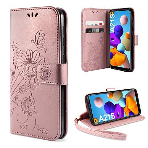 ivencase Handyhülle Kompatibel mit Galaxy A21s Hülle Flip Lederhülle, Handyhülle Book Hülle PU Leder Tasche Hülle & Magnet Kartenfach Schutzhülle (Pink)