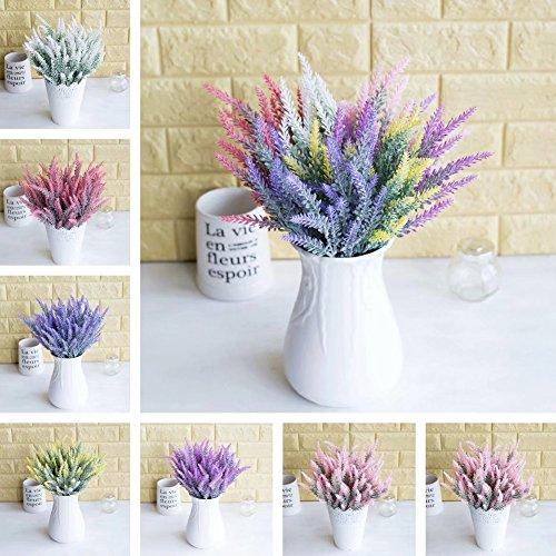 XdiseD9Xsmao 1 stuk Fast Natuurlijke kunstmatige kunstmatige Lavendel Bloem Planten Wedding Home Office Decoratie Geen kleur vervagen wit