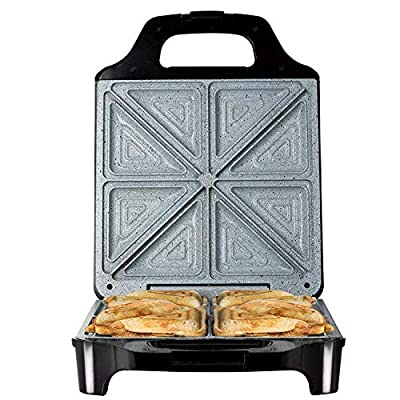 Tower T27021 4-Slice Deep Fill Sandwich Maker with Easy Clean, Non-Stick Plates, Automatic Temperature Control, Cool Touch Handle, 1600 W, Black