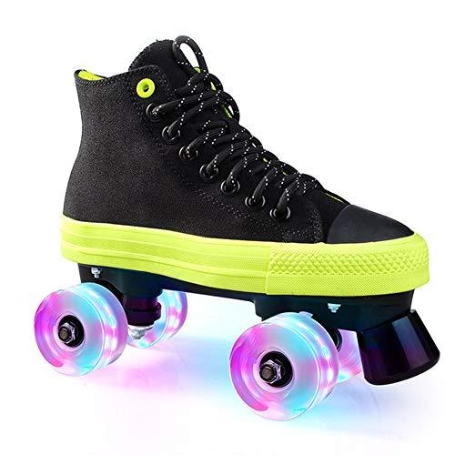 Pinkskattings@ Kinder Rollschuh Rollerskates Skates Mädchen Frauen Rollen Inliner Alle Räder Leuchten, Mehrere Farben,Schwarz,43