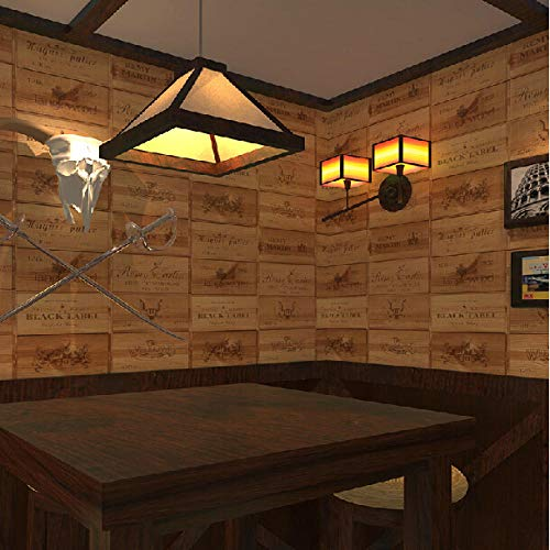 ACCEY Rollos de papel tapiz vintage estéreo de madera 3d de etiquetas de cuadros de caja de vino evocadas para bar papel de pared 3d revestimientos de vinilo de pared @ 53cmx10m