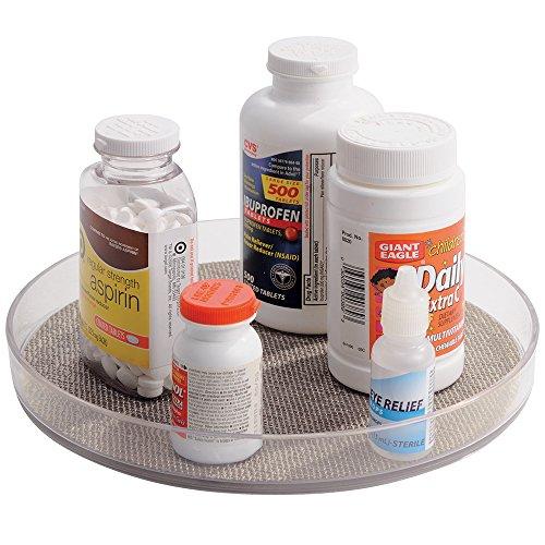 mDesign Medikamenten Organizer – praktischer Drehteller zur griffbereiten Aufbewahrung von Medikamenten und Vitaminpräparaten – unkomplizierte Medikamenten Aufbewahrung – durchsichtig