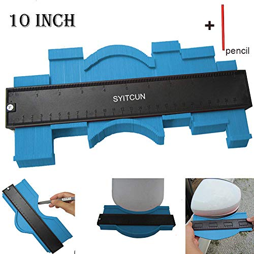 Contour Gauge 10 Inch Irregular Profile Duplicator for Woodworking Shape Tracing Template Measuring Tool Profile Jig Guide Pipe Tile Frame Gauge Metal Welding Fabrication Silhouette