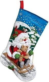 Bucilla 18-Inch Christmas Stocking Felt Applique Kit, 86279 Santa's Sled