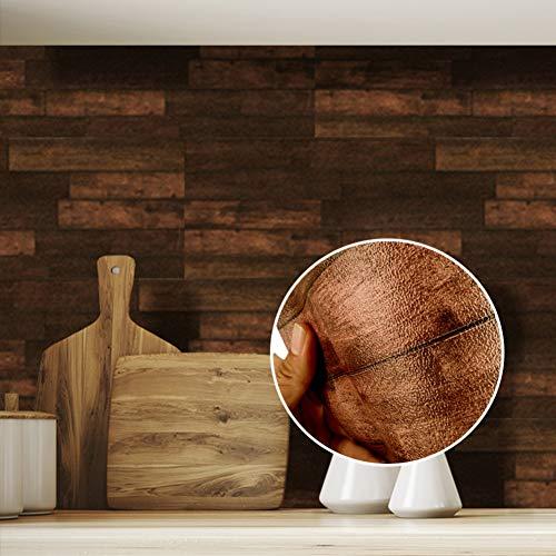 Rustikale Backsteintapete, selbstklebende Tapete Holztapete Braune Holztapete für Wohnzimmer Schlafzimmer Küche Esszimmer