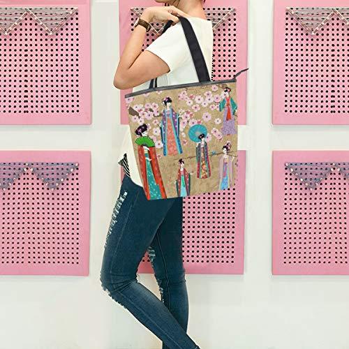 GIGIJY - Bolso de mano vintage oriental para disfraz de niña, tamaño grande para mujer, hombro con cremallera, bolsa organizadora para la compra