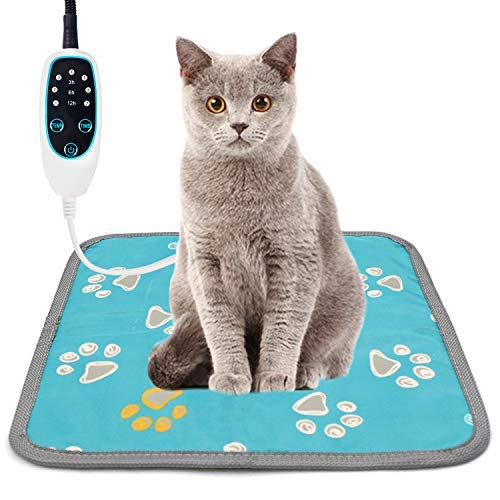 furrybaby Updated Pet Heating Pad, Waterproof Dog Heating Pad Mat for Cat with 3-Level Timer 7-Level Temperature, Pet Heated Warming Pad with Durable Anti-Bite Tube Indoor for Puppies Dogs Cats