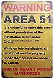 ERLOOD Warning Area 51 Metal Tin Sign Decorations Vintage Garage Poster Art Wall Decor12 x 8