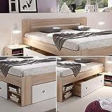 Stella Trading STEFAN Doppelbett Bettanlage 140 x 200 cm mit 2x Nachtkommoden - Schlafzimmer Komplett-Set in Eiche Sonoma Optik, weiß - 145 x 86 x 204 cm (B/H/T) - 7