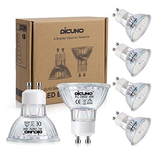 DiCUNO Lampadina LED GU10 4W, Dimmerabile, 400LM, Bianco caldo 2700K, Equivalente alogeno 40W, Lampadina LED per faretti GU10, 220-240V, Fasci larghi 120 °, 6 Pezzi