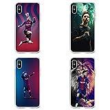 LXIAOWEI Funda telefónica Leo Messi para iPhone 7/8,7plus / 8plus (4pcs), con 2 Cordones, FC Barcelona, a Prueba de Golpes, Duradero, Regalo para su Novio 7/8