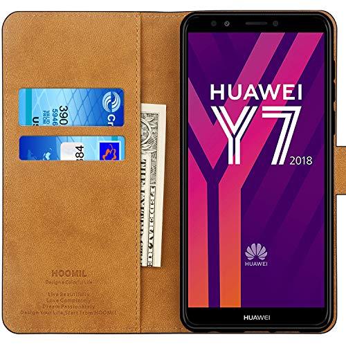HOOMIL Handyhülle für Huawei Y7 2018 Hülle, Premium Leder Flip Schutzhülle für Huawei Y7 2018/Y7 Prime 2018/Honor 7C Tasche, Schwarz - 2