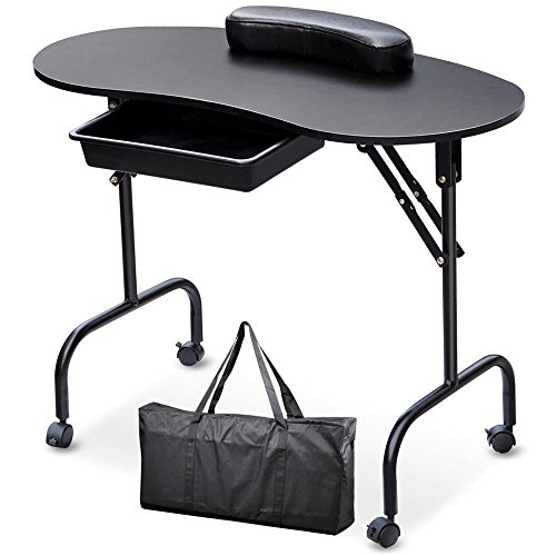 Topeakmart Manicure Nail Table Station - Foldable Nail Technician Desk Workstation Spa Beauty Salon w/Drawer/Client Wrist Pad/lockable Wheels/Carrying Case Black 37-inch Black