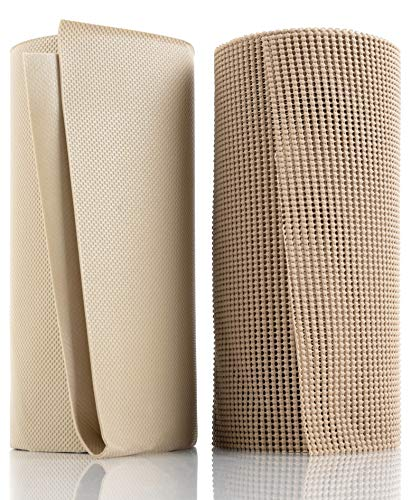Junibear Best Premium Shelf Liner Package, 2 in 1 Complete Set, Ultra Grip Non-Adhesive Roll, 12in. x 24ft, Includes 100% Waterproof Mat, 24in. x 36in for Under The Sink, Lifetime Replacement (Beige)