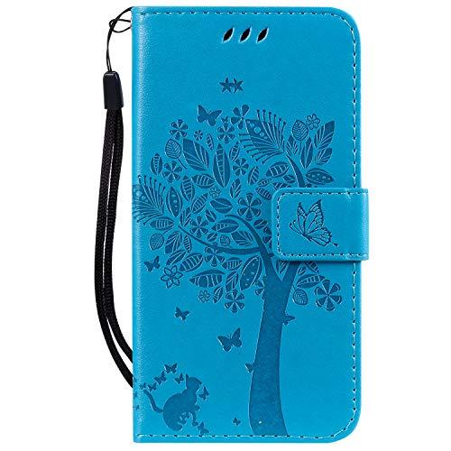 Tosim Xiaomi Redmi Go Hülle Leder, Klapphülle mit Kartenfach Brieftasche Lederhülle Stossfest Handyhülle Klappbar Case für Xiaomi Redmi Go - TOKTU080525 Blau