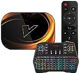 Android 9.0 TV Box, VONTAR X3 Amlogic S905X3 Quad-Core Cortex-A55 CPU 2.4GHz / 5GHz Banda dual WiFi 8K 4K Resolución Ultra HD Bluetooth 4.0 con mini teclado inalámbrico retroiluminado4 + 32G(Color:4