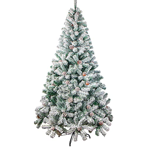 VEYLIN 6ft Christmas Tree Snow Flocked Artificial Tree with Pine Cones and Metal Stand (700 Tips)