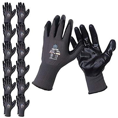 GlovBE 12 Pairs Mechanic Work Gloves, Oil & Gas Resistant Nitrile Coating, Grey (Medium)