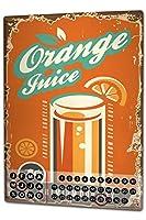 カレンダー Perpetual Calendar Retro Kitchens Lemonade orange juice Tin Metal Magnetic