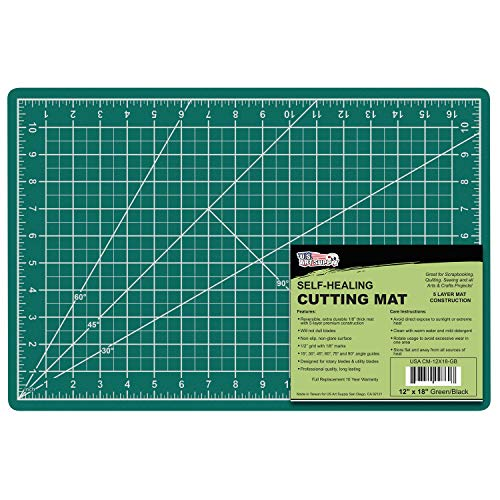 US Art Supply 12' x 18' Green/Black Professional Self Healing 5-Ply Double Sided Durable Non-Slip PVC Cutting Mat Great for Scrapbooking, Quilting, Sewing and All Arts & Crafts Projects