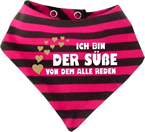 KLEINER FRATZ KLEINER FRATZ Baby Halstuch gestreift (Farbe pink-grau) (Gr. 1 (0-74) Ich bin der Süße von dem alle reden