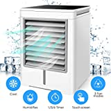 Portable Air Conditioner, Personal Air Cooler - 3 in 1 Mini USB Air Conditioner, Purifier, Sterilizer, Humidifier, Desktop Cooling Fan with 3 Speeds for Home Room Office - 1h/3h/6h Timing Fuction