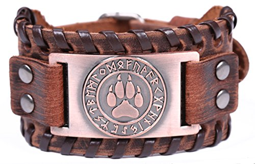 LIKGREAT Viking Wolf Bear Paw Norse 24 Runes Cuff Leather Bracelet for Men, Vintage Jewelry (brown and antique copper)