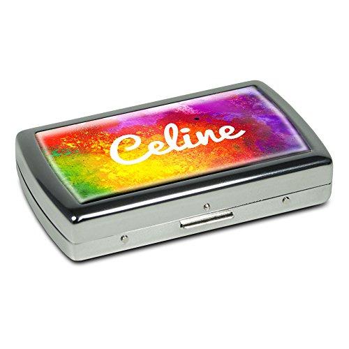 Zigarettenetui mit Namen Celine - Edle Chrom-Metallbox mit Design Color Paint - Zigarettenbox, Zigarettenschachtel, Metallbox