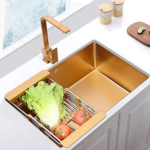 Set di lavabo, con strisce spesse in acciaio inox, per balconi e quadrati, serbatoio dell'acqua Nano Gold 304 su e su e giù, slot singolo, grande capacità