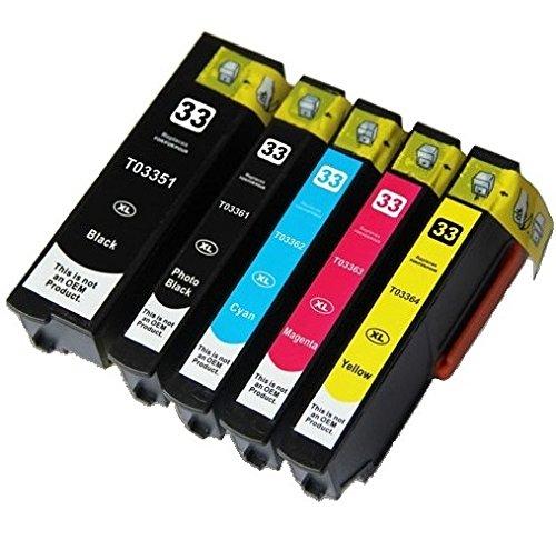 5 Tintenpatronen kompatibel zu Epson 33XL für Epson Expression Premium XP-530 XP-630 XP-635 XP-640 XP-830 XP-900 XP-540 XP-645 - Schwarz/Foto Schwarz/Cyan/Magenta/Gelb, hohe Kapazität