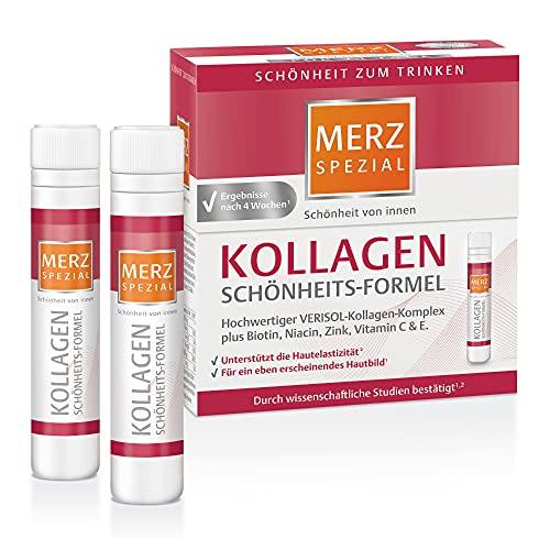 Merz Spezial Kollagen Schönheits-Formel Trinkampullen – Hochwertige Anti Aging Ampullen mit Kollagen-Komplex, Biotin, Niacin, Zink, Vitamin C & E – 14 x 25 ml
