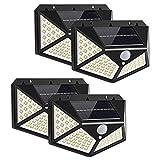 Yizhet Luz Solar Exterior, 4 Piezas 100 LED Foco Solar Exterior con Sensor de Movimiento Luces Solares Gran Ángulo...