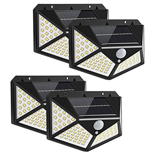 Yizhet Luz Solar Exterior, 4 Piezas 100 LED Foco Solar Exterior con Sensor de Movimiento Luces Solares Gran Ángulo 270º Iluminación Impermeable Lámpara Solar 3 Modos para Jardín, Patio, Garaje