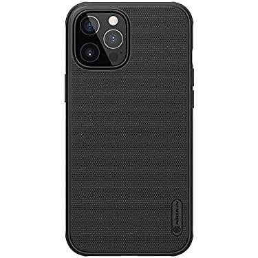 """Nillkin Case for Apple iPhone 12 Pro Max (6.7"""" Inch) Super Frosted Shield Pro Hard Back Soft Border (PC + TPU) Shock Absorb Cover with Raised Bezel for Camera Protect PC Without Logo Cut Black Color"""