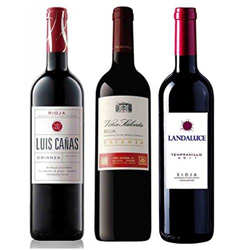 Pack Vino Rioja Clasicos Crianza Gourmet 3 botellas. 1 Luis Cañas Crianza, 1 Viña Salceda Crianza y 1 Landaluce Crianza