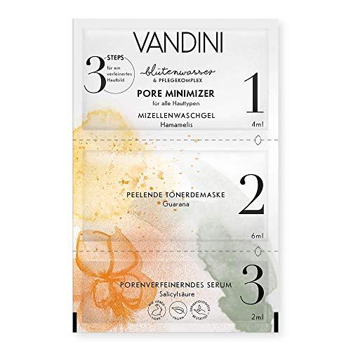 VANDINI hautbildverfeinernde Gesichtsmaske mit 3 Steps - Pore Minimizer Feuchtigkeitsmaske für alle Hauttypen - vegane Gesichtsmasken ohne Silikone, Parabene & Mineralöl (12 ml)