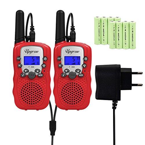 Upgrow RT-388 Walkie Talkies für Kinder Funkgeräte mit Akkus Aufladbar Kinder Funkgerät Funk Handy, 8 Kanäle mit LCD-Display, Reichweite 3Km (Rot)