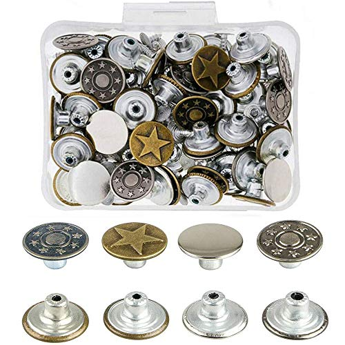 Bestgle17mmジーンズボタン8種類合計80組バネホック金属ボタンはめ込み式 手芸ジーンズスタッズボタン バネ ホック レザークラフトホック スナップボタンレザークラフトピン ユニセックス コートジャケットパンツ