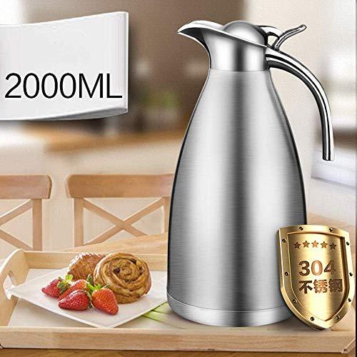 Kyman Thermos Edelstahl Thermostopf Haushaltsthermos große Kapazität 304 Thermos Topf Kessel 2L-Stahlfarbe (Color : Silver)