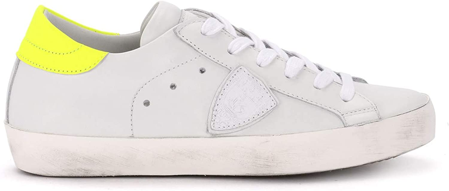PHILIPPE MODEL Woman's Paris White and Fluo Yellow Leather Sneaker