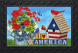 """Briarwood Lane I Love America Patriotic Doormat Indoor Outdoor 18"""" x 30"""""""