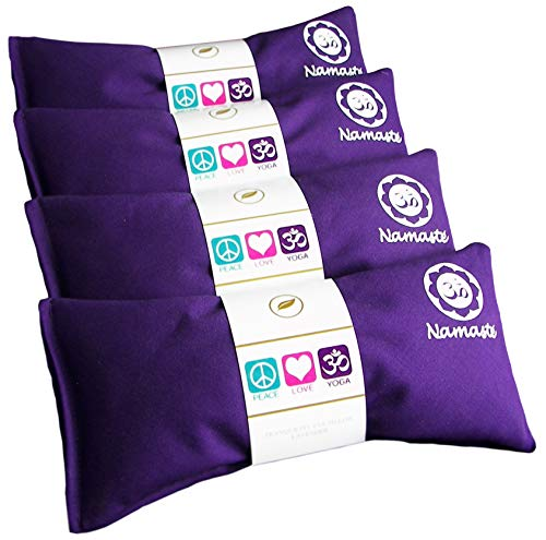 Happy Wraps Namaste Lavender Yoga Eye Pillows - Hot Cold Aromatherapy for Stress, Meditation, Spa, Relaxation Gifts - Set of 4 - Purple Cotton