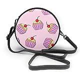 Bolso de mano para mujer, de piel sintética, con cremallera, redondo, con diseño de cupcakes, color rosa y morado