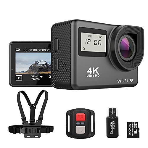 4K Ultra HD Action Camera WiFi Sports Camera Waterproof Remote Control DV Camcorder W/[Strap+TF Card+Card Reader], 170 Degree Wide Angle & Detachable Batteries【2020 Upgraded】