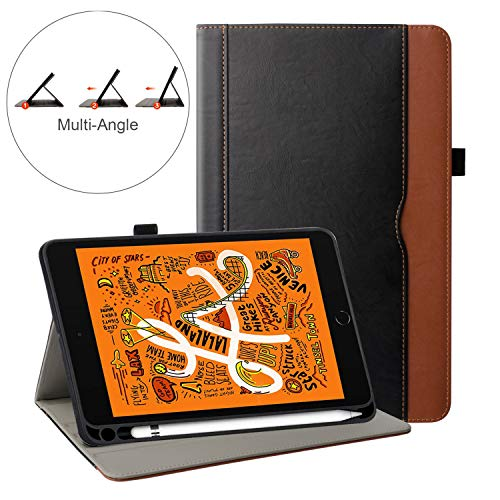 ZoneFoker New iPad Mini 5 2019 Tablet Leather Case with Pencil Holder, Auto Sleep/Wake Multi-Angle Viewing Folio Stand Cover Cases Also for Apple iPad Mini 4 3 2 1 - Black Brown