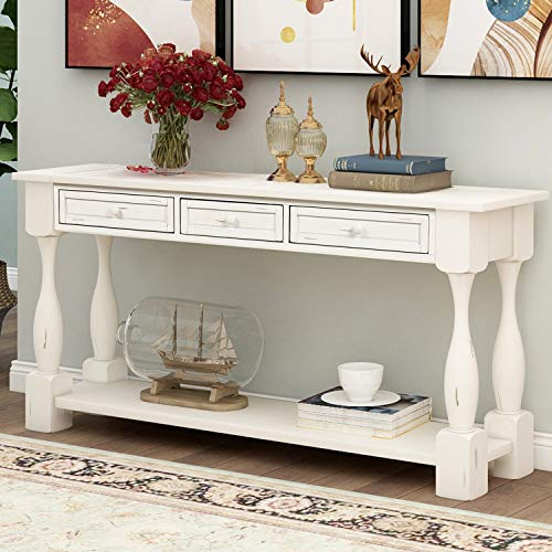 """P PURLOVE Console Table for Entryway 64"""" Wood Sofa Table with Storage Drawers and Bottom Shelf for Hallway Living Room (Antique White)"""